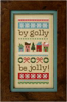 Lizzie Kate - Be Jolly - Cross Stitch Kit-Lizzie Kate, Be Jolly, Christmas, gifts, festive, wreaths, snowflakes, happiness, season, Cross Stitch Kit