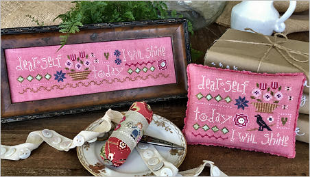 Lizzie Kate - Selfie Sampler Kit-Lizzie Kate - Selfie Sampler Kit, positive, rosy, flowers, upbeat, attitude, Nashville, cross stitch