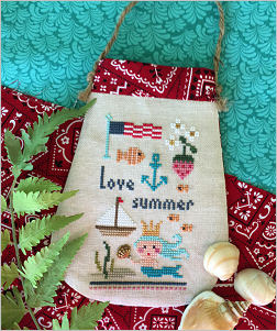 Lizzie Kate - Love Summer Limited Edition Kit-Lizzie Kate - Love Summer Limited Edition Kit, Nashville, summertime, sailboat, sunshine, american flag, mermaid, sea shells, ocean, cross stitch