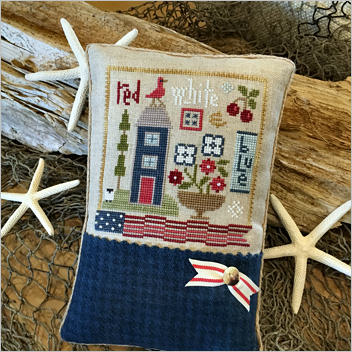 Lizzie Kate - Red, White & Blue Kit-Lizzie Kate - Red, White  Blue Kit , america, USA, patriotic, American flag, home, cherry tree, cross stitch, Nashville,