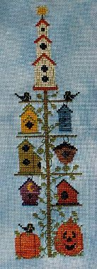 A Kitty Kats Original - Fall Birdhouse Pole - Cross Stitch Pattern-A Kitty Kats Original - Fall Birdhouse Pole - Cross Stitch Pattern