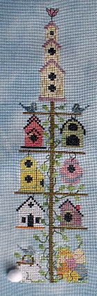 A Kitty Kats Original - Spring Birdhouse Pole - Cross Stitch Pattern