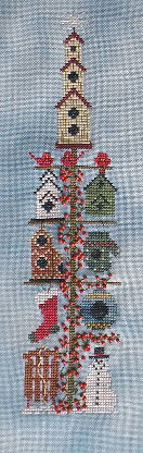 A Kitty Kats Original - Winter Birdhouse Pole - Cross Stitch Pattern