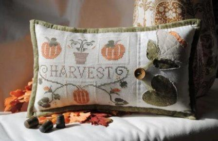 Little House Needleworks - Harvest - Cross Stitch Pattern & Thread Pack-Little House Needleworks, Harvest, fall, pumpkins, flowers, autumn, Cross Stitch Pattern  Thread Pack