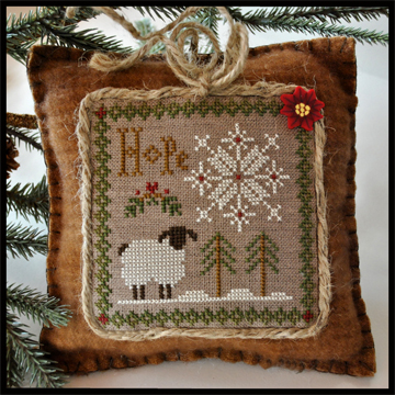 Little House Needleworks - Little Sheep Virtues - Part 01 of 12 - Hope - Cross Stitch Pattern-Little House Needleworks, Little Sheep Virtues, Part 1 of 12, Hope, americana, folk art, sampler style,bible verses,poinsettia,button, lamb, Cross Stitch Pattern