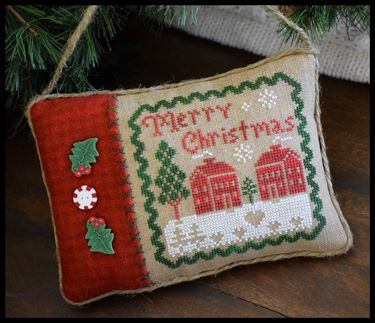 Little House Needleworks - Merry Christmas Pillow-Little House Needleworks - Merry Christmas Pillow, ornament, Christmas, gifts, cross stitch, houses,