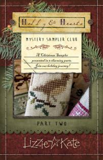Lizzie Kate - Holly & Hearts Mystery Sampler - Part 2 of 3 - Cross Stitch Pattern-Lizzie Kate, Holly & Hearts Mystery Sampler,Christmas, festive, Part 2 of 3, Cross Stitch Pattern