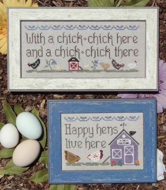 My Big Toe Designs - Hens and Chicks - Cross Stitch Chart-My Big Toe Designs,  Hens and Chicks , chickens, farm animals, barn, country, Cross Stitch Chart