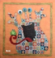 Just Another Button Company - Mischievous Monster - Art To Heart - Cross Stitch Pattern with Buttons