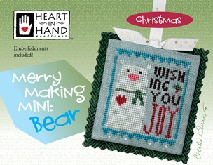 Heart in Hand Needleart - Merrymaking Mini - Bear-Heart in Hand Needleart - Merrymaking Mini - Bear, Christmas, polar bear, ornament, cross stitch,