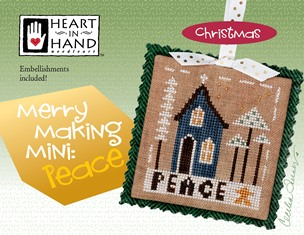 Heart in Hand Needleart - Merrymaking Mini - Peace-Heart in Hand Needleart - Merrymaking Mini - Peace, Christmas, ornament, Cross stitch