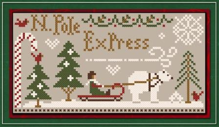 Little House Needleworks - North Pole Express - Free Cross Stitch Chart w/ Classic Colorworks Threads Purchase