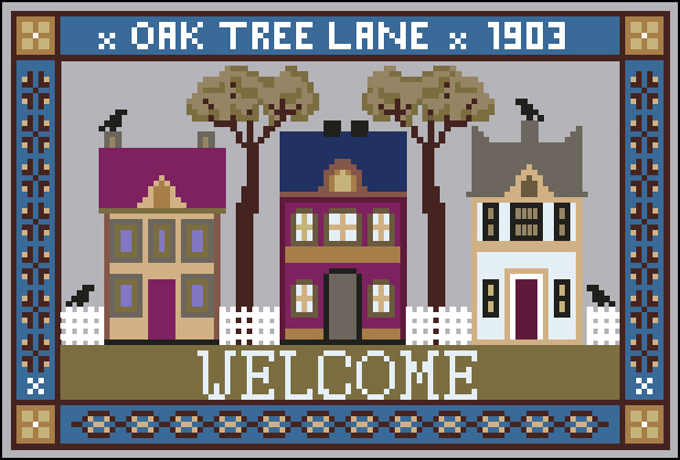Twin Peak Primitives - Oak Tree Lane Welcome-Twin Peak Primitives - Oak Tree Lane Welcome, home, samplers, trees, houses, cross stitch