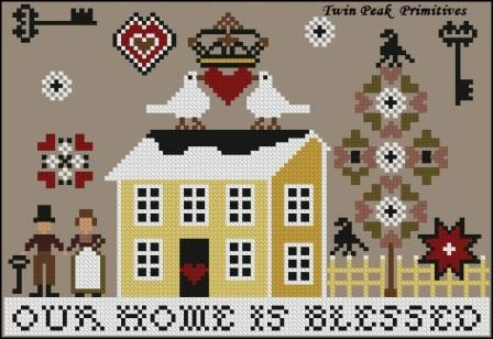 Twin Peak Primitives - Our Home is Blessed-Twin Peak Primitives - Our Home is Blessed,  house, happy home, cross stitch