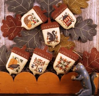 Prairie Schooler - Acorns-Prairie Schooler - Acorns, fall, ornaments, leaves, pumpkins, squirrel, nuts, Cross stitch