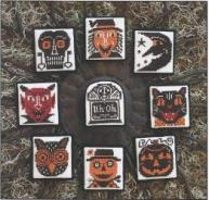 Prairie Schooler - Heads Up! - Cross Stitch Charts-Prairie Schooler, Heads, Up!,Cross, Stitch, Charts, halloween, faces, skeleton, devil, scary, moon, black cat, headstone, pumpkin