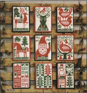 Prairie Schooler - Nordic Holiday-Prairie Schooler, Nordic Holiday, Christmas, ornaments, Santa Cluas, reindeer, snowman, christmas trees, red, green, Cross Stitch Pattern