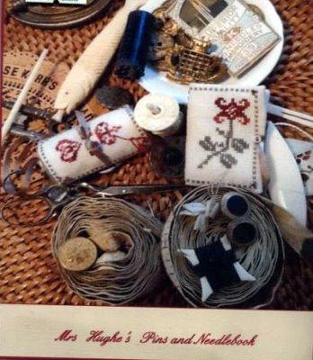 The Purple Thread - Mrs Hughe's Pns and Needlebook Kit-The Purple Thread - Mrs Hughes Pns and Needlebook Kit, primitive, tulip, needleroll, needle keep, cross stitch