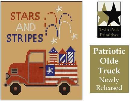 Twin Peak Primitives - Patriotic Olde Truck-Twin Peak Primitives - Patriotic Olde Truck, patriotic, USA, 4th of July, family, fireworks, cross stitch