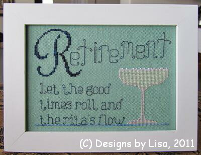 Designs by Lisa - Retirement Ritas - Cross Stitch Pattern