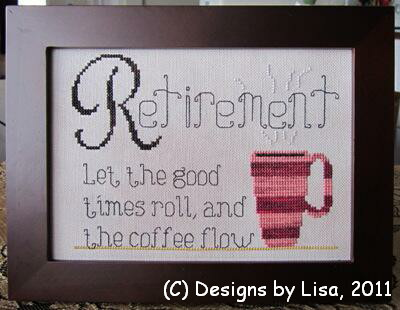 Designs by Lisa - Retirement Coffee -  Cross Stitch Pattern