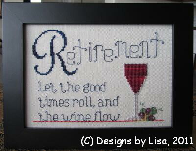 Designs by Lisa - Retirement Wine - Cross Stitch Pattern