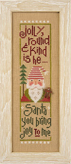 Lizzie Kate - Jolly Round & Kind - Santa '14 Snippet - Cross Stitch Pattern