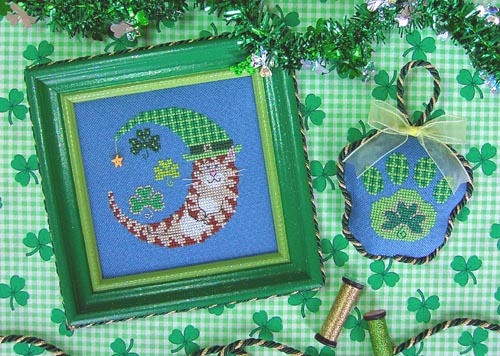 Stitchy Kitty - St. Paddy's Kitty Moon - Cross Stitch Pattern