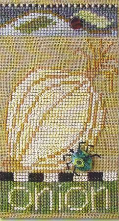 SamSarah Design Studio - Farmer's Market Veggie Stand Banner - Chart 4 of 6 - Fresh Onion - Cross Stitch Pattern