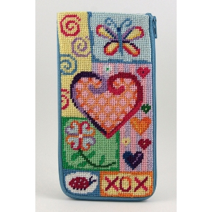 Alice Peterson Needlepoint - Stitch & Zip - Happy Hearts - Eyeglass/Cell Phone Case