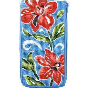 Alice Peterson Needlepoint - Stitch & Zip -Red Floral - Eyeglass/Cell Phone Case
