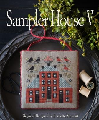Plum Street Samplers - Sampler House V-Plum Street Samplers - Sampler House V, red house, brick house, samplers, cross stitch
