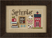 Lizzie Kate - Yearbook Double-Flip - September/October-Lizzie Kate - Yearbook Double-Flip - SeptemberOctober, school, fall, halloween, autumn, cross stitch