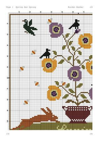 Twin Peak Primitives Freebies - Spring Has Sprung-Twin Peak Primitives Freebies - Spring Has Sprung, bunnies, seasons, cross stitch, spring