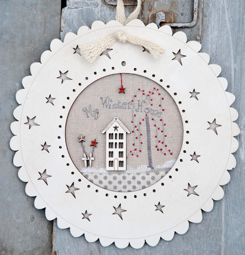 The Bee Company - My Winter Home Limited Edition Kit-The Bee Company - My Winter Home Limited Edition Kit, wood frame, winter, snow, home, cross stitch