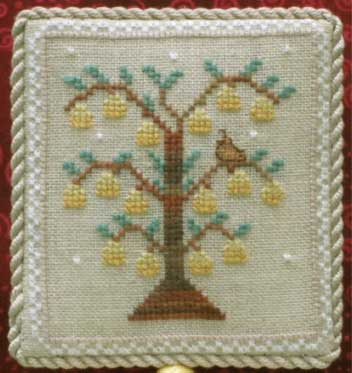 Historic Handworkes - The 12 Sampler Days of Christmas - Part 01 of 12 - A Partridge in a Pear Tree