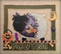 Just Another Button Company - Trick or Treat with Ewe - Cross Stitch Pattern with Buttons