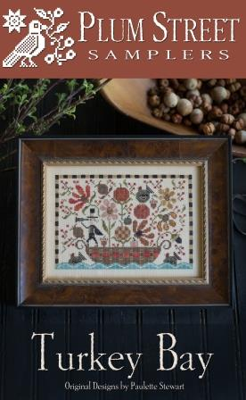 Plum Street Samplers - Turkey Bay-Plum Street Samplers - Turkey Bay, Thanksgiving, hunter, ocean, canoe, cross stitch, fall,