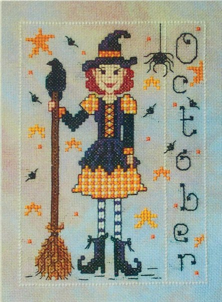 Whispered by the Wind - Elves of the North Pole - Part 10 of 12 - Miss October-Whispered by the Wind - Elves of the North Pole, Miss October, Christmas, Santa Claus, Halloween, cross stitch,