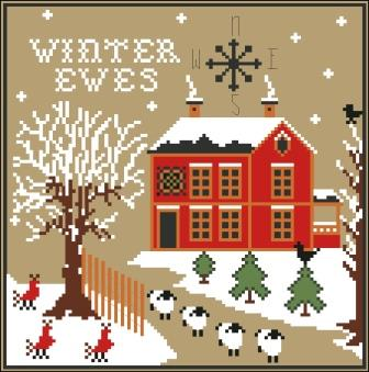 Twin Peak Primitives - Winter Ewes-Twin Peak Primitives - Winter Ewes, sheep, snow, barn winter, cross stitch