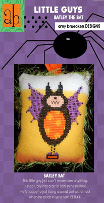 Amy Bruecken Designs - Little Guys - Batley - Cross Stitch Pattern-Amy Bruecken Designs, Little Guys, Batley, halloween, fall, bat, kids, ornament, Cross Stitch Pattern