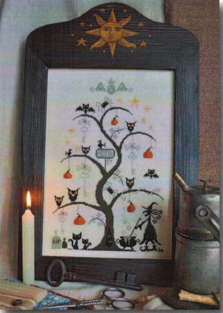 Barbara Ana Designs - O Halloween Tree-Barbara Ana Designs, O Halloween Tree, halloween, fall, bats, pumpkins, black cats, Cross Stitch Pattern