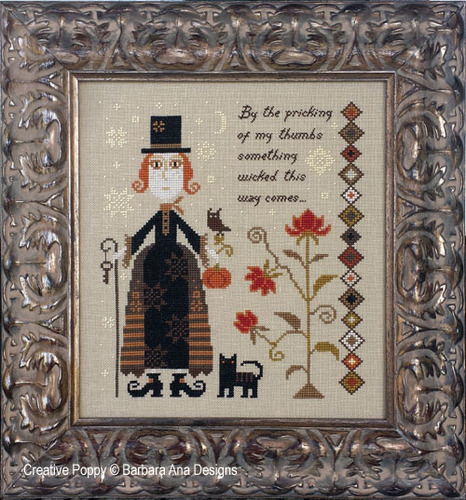 Barbara Ana Designs - Something Wicked-Barbara Ana Designs, Something Wicked, Halloween, witch, black cat,  cat, owl, Shakespeare, Cross Stitch Pattern