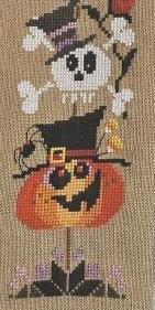 Barbara Ana Designs - Spooky Tree-Barbara Ana Designs, Spooky Tree, pumpkin, skull and cross bones, crow, candle, halloween, trick or treat, spider, candy corn, white flowers, Cross Stitch Pattern