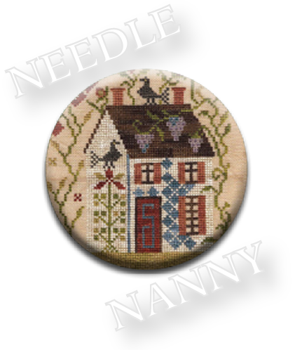 Stitch Dots - Summer Needle Nanny by Blackbird Designs-Stitch Dots - Summer Needle Nanny by Blackbird Designs, primitive, country, house, flowers, cross stitch magnet, needles,