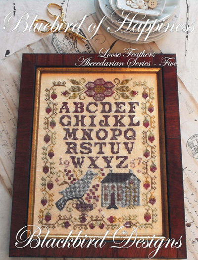 Blackbird Designs - Loose Feathers - Abecedarian Series - Part 5 of 12 - Bluebird of Happiness - Cross Stitch Pattern