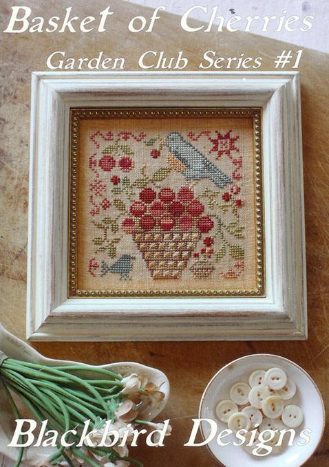 Blackbird Designs - Garden Club Series Part 01 - Basket of Cherries-Blackbird Designs - Garden Club Series Part 1 - Basket of Cherries,blue bird, fruit basket, primitive, cross stitch