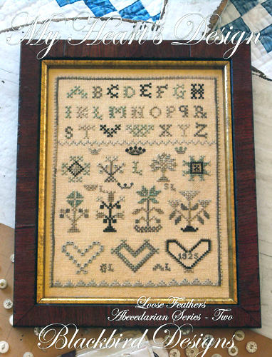 Blackbird Designs - Loose Feathers - Abecedarian Series - Part 02 of 12 - My Heart's Design - Cross Stitch Pattern