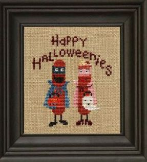 Bent Creek - Happy Halloweenies - Cross Stitch Pattern-Bent Creek, Happy Halloweenies, trick or treat, Halloween costumes,children, hot dogs, Cross Stitch Pattern