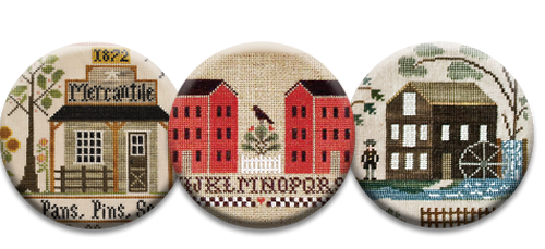 Stitch Dots - Vintage Town Magnet Collection by Little House Needleworks